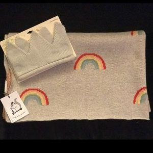 Rainbow Baby Blanket & Knit Crown